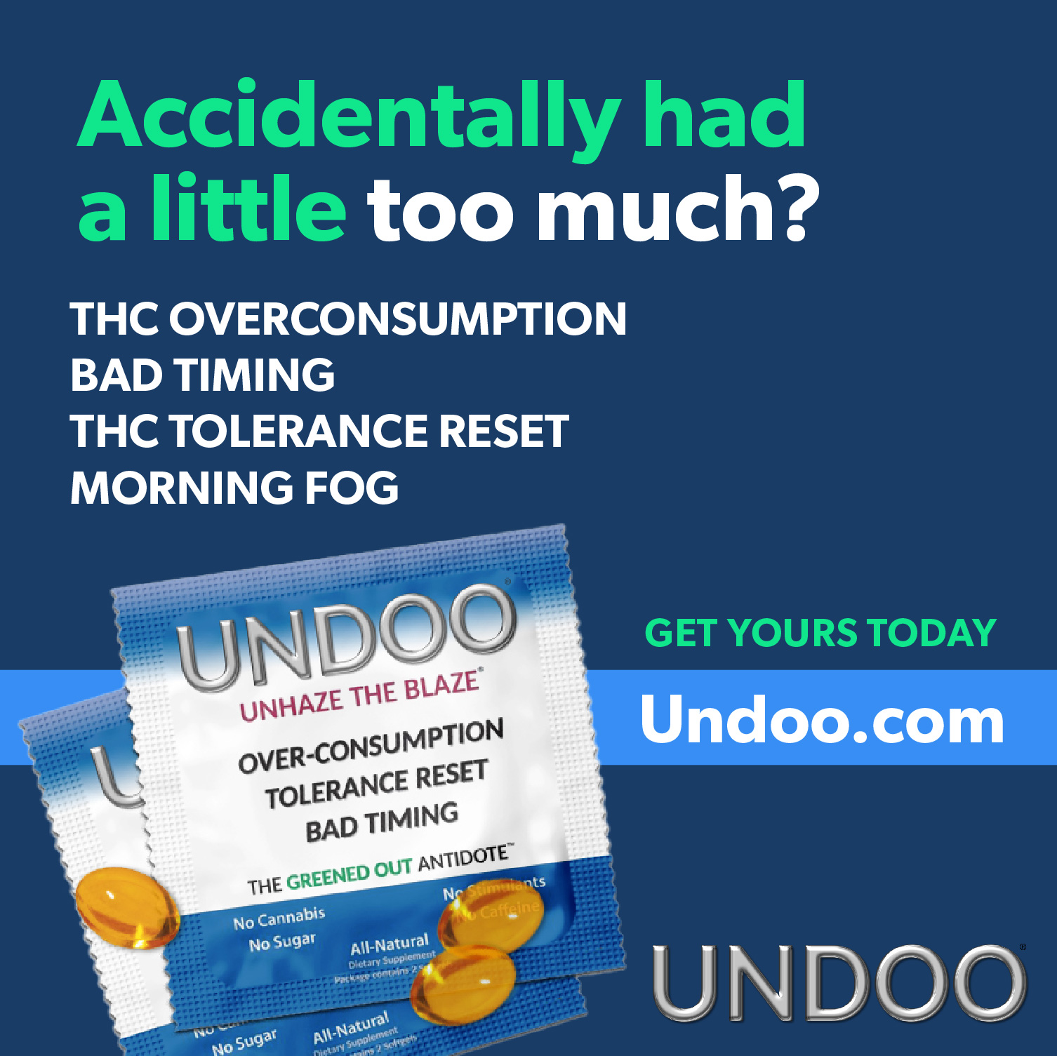 Undoo is the first and only Practical Solution for Cannabis Overconsumption